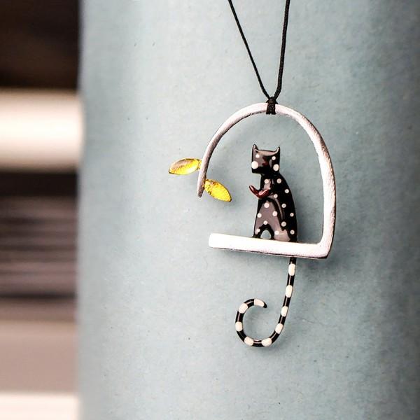 Kette-Anhänger Katze Silber Schwarz