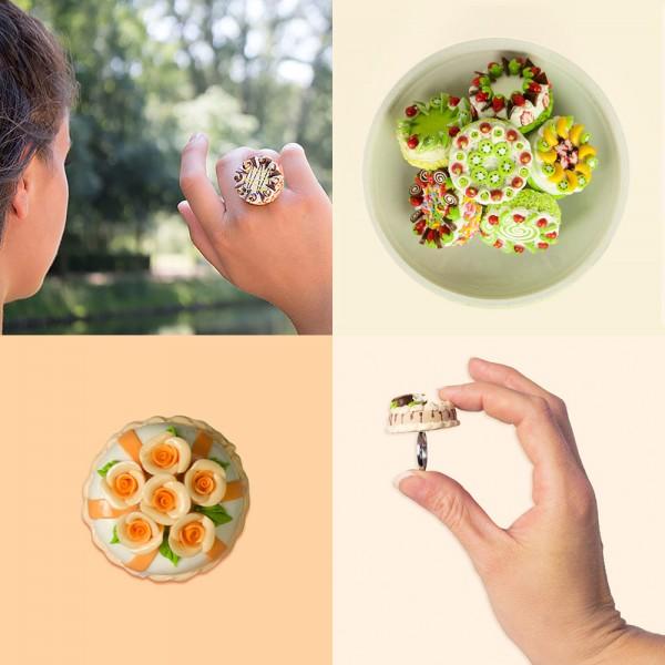 """Ring mit """"Torte"""" in 8 Variationen"""