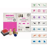 Mini Stempelset - 3 Stempel mit Stempelkissen