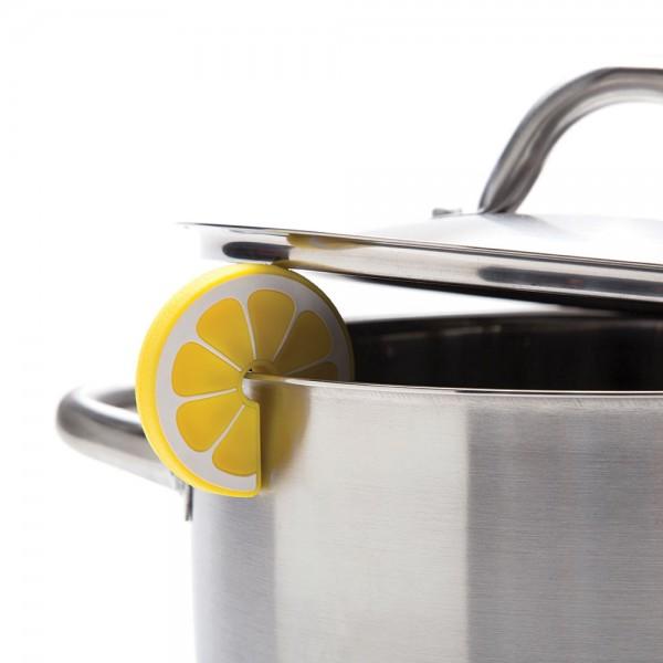 Topfdeckelhalter aus Silikon als Zitrone