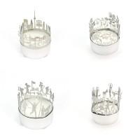 Teelichthalter aus Metall mit Bordüre
