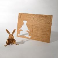 Holzpostkarte Hase