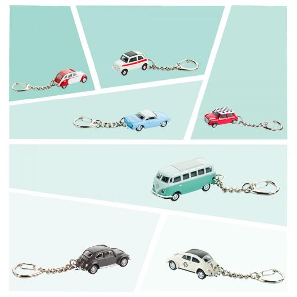 Schlüsselanhänger mit Metallkette - klassische Autos