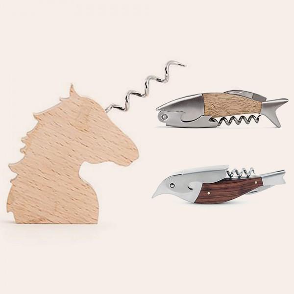 Korkenzieher aus Holz von Kikkerland als Einhorn, Vogel oder Fisch