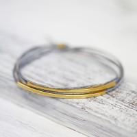 Armband vergoldet Vintage grau