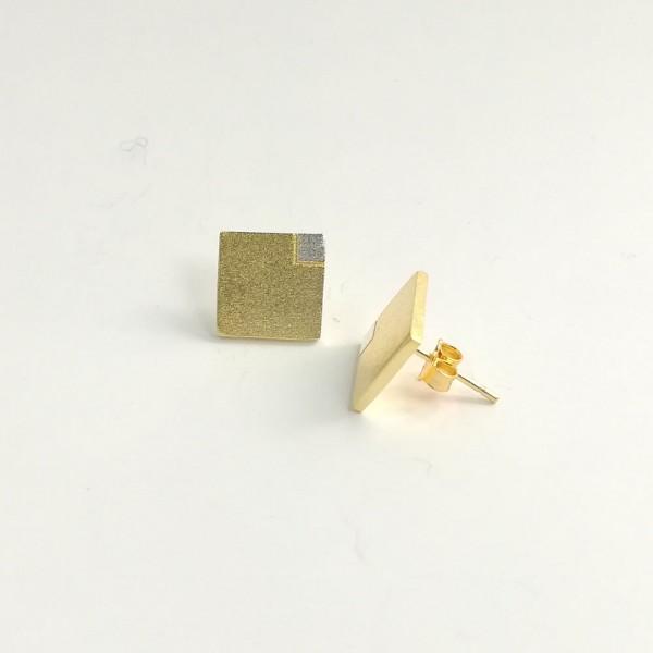 Ohrstecker Viereck Gold Silber