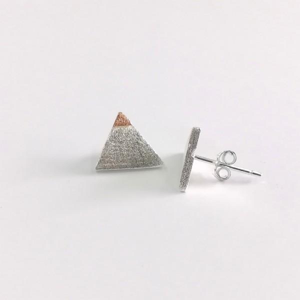 Ohrstecker Dreieck Silber Rosé