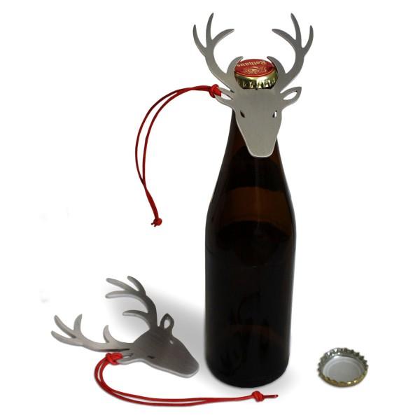 """Flaschenöffner aus Edelstahl """"Deer up"""" als Hirschgeweih"""