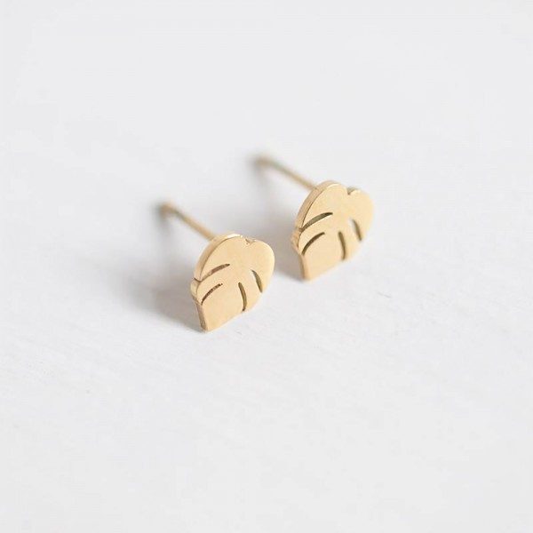 Monstera Ohrstecker Gold