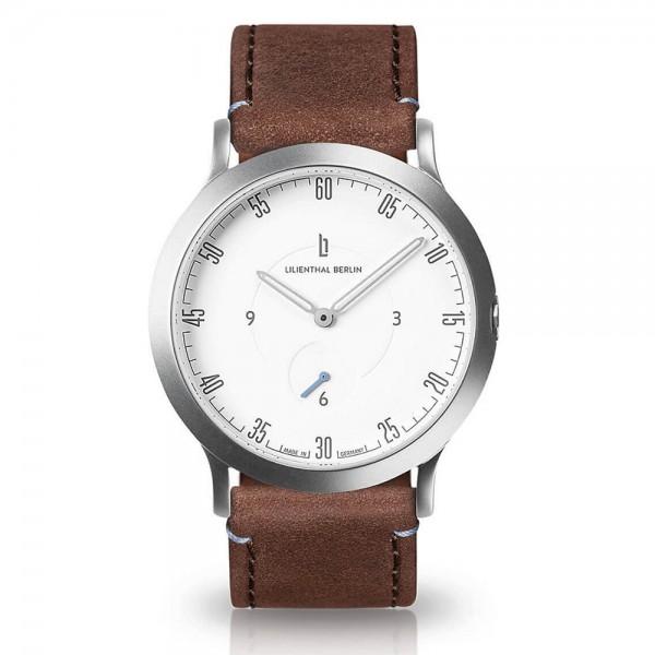 L01 - 201 - B002A Silber weiß - braunes Armband